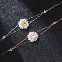 Wholesale sunflower accessories resale online - original material Add logo bracelet Lovely little daisy sunflowers temperament accessories bracelet jewelry women