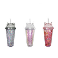 Wholesale flashing drink cups for sale - Group buy Cat ear flashing double cup Creative new plastic double cup with straw and lid Gift mug A04