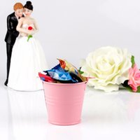 mini cubo de regalo al por mayor-12 unids Metal Mini Tin Bucket Favores y regalos de boda Caja de dulces Bolsas de regalo con asas Decoración para bodas Suministros para fiestas de eventos