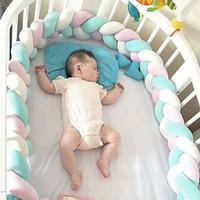 tampon çocuklar toptan satış-Çocuk Oyun Parkı Bebek Yatağı Tampon Odası Dekor Uzun Şerit Dokuma Peluş Beşik Koruyucu Bebek düğümlü Çit Çocuklar Güvenlik Bariyeri