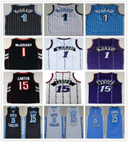 ingrosso pullover di pallacanestro viola-College Basketball Tracy 1 McGrady Jersey Retro Blu Bianco Nero Viola Vince 15 Carter Jerseys North Carolina Tar Heels Camicie della High School