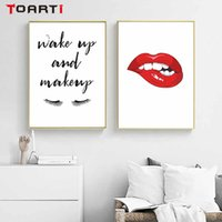 Wholesale lips wall for sale - Group buy Red Lip Wake Up Make Up Posters Prints Modern Canvas Painting On The Wall Lady Nordic Art Picture For Women Bedroom Home Decora