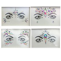 лицевые камни оптовых-Temporary Tattoos Face And Eye Jewels Stickers 3D Sexy Crystal Jewel Eyes Festival Party  Tools DIY Diamond Glitter 1PC