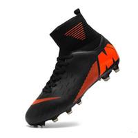 мужская футбольная обувь оптовых-Мужчины бутсы Футбол Бутсы Boots Длинные Шипы TF Шипы лодыжки высокие кроссовки детские мягкие Крытый Turf Футбол Футбольная обувь