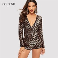 pompas de oro sexy al por mayor-COLROVIE Gold Backless Geo Party Sequin Jumpsuit Romper Mujeres 2019 Primavera Sexy Manga larga Playsuit Club Rompers Womens Jumpsuit