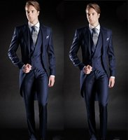 7383b1a0754 New Slim Fit Morning Style Groom Tuxedos Lapel Men s Suit Navy Blue  Groomsman Best Man Wedding Prom Suits(Jacket+Pants+Vest)