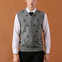 chaleco de lana sin mangas al por mayor-2018 nuevo chaleco para hombre suéteres de lana informal de punto de los hombres de negocios sin mangas del chaleco más el tamaño 3XL marca de cachemir ropa clásica