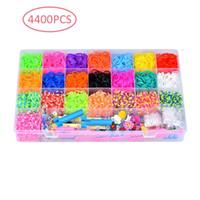 juegos de bandas de goma pulsera al por mayor-4563 Loops Rainbow Woven Easy Set Diy Toys Pulsera de bandas de goma para niños o banda de goma para el cabello Hacer pulsera tejida Regalo de Navidad