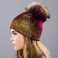 kaliteli mink şapkaları toptan satış-Kadınlar Örme Örgülü Tığ Chic Beanie - Maxi DHL Kargo Yüksek kaliteli kaşmir büyük Mink top Bere Şapka damgalama altın karıştırma
