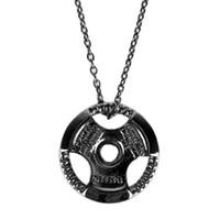 crossfit jóias venda por atacado-Aço inoxidável de titânio ginásio de fitness colar placa de peso barra haltere halterofilismo musculação crossfit exercício jóias