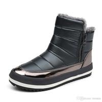 bot içeride kürk toptan satış-Charm2019 Kadınlar Kış Çizmeler Terbiyeli Marka Su Geçirmez Ayakkabı Kar Botları Kürk Peluş Içinde Zip Artı Sıcak Kadın Çizmeler SP-027