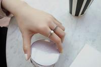 antike silberne offene ringe großhandel-2019 2 Teile / satz Vintage Antique Silver Twisted Woven Inset Nachahmung Perlenöffnung Ringe Sets Für Mädchen Einfache Ringe