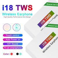 bluetooth alimentado venda por atacado-i18 TWS Touch5.0 sem fio fones de ouvido bluetooth suporte pop janela Fones de ouvido estéreo fones de ouvido Auto Power ON Auto paring Toque Usando