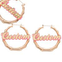 ingrosso i disegni dell'orecchino dei capretti-Personal Design personalizzato nome in orecchini di bambù fatti a mano rotonda perfetto regalo per bambini per il miglior amico amore gioielli per ragazze J190520