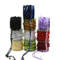 ornamentos frisados venda por atacado-10 M / 32FT Cetim Organza Beads fita caixa de presente de Casamento fita festa de embrulho de presente de natal festival decoração do feriado frisado ornamento