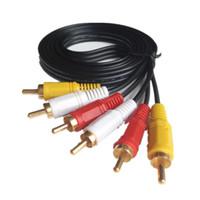 m dvd al por mayor-Cable de video RCA de 1,5 m / 3 m / 5 m 10 m / 20 m 3 Cable macho a macho 3RCA a 3RCA Cable de audio y video AV Cable para reproductor de DVD de alta fidelidad DVD