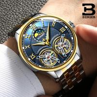 relógios mecânicos dos homens do binger venda por atacado-Duplo Tourbillon Suíça Marcas Relógios Binger Original Automático dos homens Relógio Auto-vento Moda Masculina Mecânica Relógio de Pulso Y19021402