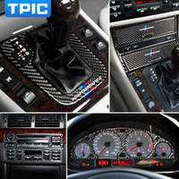 Wholesale car interior trim resale online - Carbon Fiber Interior Car Stickers Central Control CD Panel Gear Cover Trim Lamp Eyebrows Decals For BMW E46 series