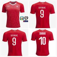 швейцария оптовых-Кубок Европы 2019 по футболу в швейцарском футболке Футбол 2019 года, Швейцария, домашняя футболка красного цвета # 10 XHAKA Schweizerische, футбольная форма, продажа в Швейцарии
