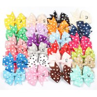 Wholesale pearl bow barrette resale online - 24 colors Girl hairpin dot bow pearl hairpin grosgrain thread headdress girls candy color bubble flower hair accessory