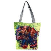 padrões de bolsas de pano venda por atacado-2019 Outono Verão Mulheres Elefante Padrões Bolsa de Ombro Senhoras Do Vintage Bolsa Totes Feminino Pano Sacos De Compras