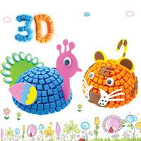 animales de espuma 3d al por mayor-3D EVA Foam Model Jigsaw Puzzle Game DIY Cartoon Animal aprendizaje educación juguetes para niños Kids Home School estereoscópico arte