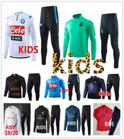 trainingsanzüge für kinder groihandel-Kinder tracksuit 19 20 Real Madrid Ajax Neapel Kind Fußballtrainingsnazuginstallationssätze 2019 2020 Jungen paris Mbappe survêtement de Fußballtraining Joggen