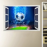 Wholesale 3d window art for wall for sale - 3D Window Football Soccer Ball Wall Stickers For Kids Rooms Living Room Wall Decals Gym Boys Room PVC Home Mural Art Decorations