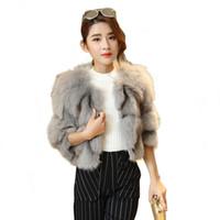 настоящие меховые шорты оптовых-2019 Winter Fashion Women Short Genuine  Fur Coat O Neck 3/4 Quarter Sleeves Womens Jackets And Coats Real Fur Jacket Clothes
