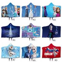 mantas de reina al por mayor-Princesa manta Reina de las Nieves con capucha Sherpa mantas polar 3D invierno Sherpa banda Mantas de Navidad Película del regalo del tema Envolver GGA2886