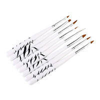 abrigos de cebra al por mayor-Patrón de cebra 8 unids / set Nail Art Pen Flower Painting Coating Shaping Manicure Tools Crystal Tallado Pen Nail Art Brush HHA476