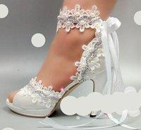 escarpins à talons ivoire achat en gros de-10cm talons peep ivoire ouvert orteils pompes dentelle chaussures de mariage mariée luxe main satin bretelles en satin riband chaussures de mariée