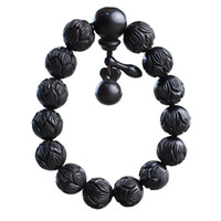 деревянный лотос оптовых-Lightning Strike Jujube Wood Hand String Wood Carved Lotus Bead Bracelet