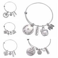 lehrer tag geschenke großhandel-Fashion Teachers 'Day Geschenk Legierung Brief Armband Charms Anhänger Armreif Love Inspire Teach Bracelets hohe Qualität