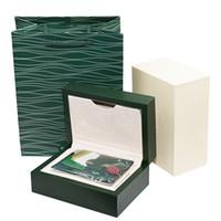 etiquetas de relojes de lujo al por mayor-Caja libre del regalo de la caja del reloj del verde oscuro de lujo del envío para las etiquetas y los papeles de la tarjeta del folleto de los relojes en cajas suizas inglesas de relojes