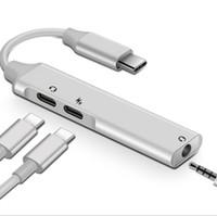 tipos de cables de computadora al por mayor-Multifuncional 3 en 1 Tipo C-Audio USBAdapter para MacBook PC Ordenador de carga del cable del auricular auricular Para PD móvil 3.5 mmUSB Para auriculares