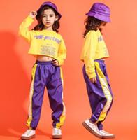 traje da dança da zebra dos miúdos venda por atacado-Roupa da menina da criança roupas adolescentes meninas Crianças Jazz Dance Costume Set Impresso Solto Cropped T Shirt basculante calças Roupa Dos Miúdos
