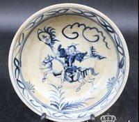 antiguidades brancas azuis venda por atacado-Novas antiguidades porcelana azul e branca antiga Jingdezhen porcelana cerâmica antiga Da Ming Xuande chapa azul e branca