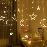 Wholesale light pink window curtains for sale - Group buy 2 M led moon star fairy light Christmas Holiday Curtain Lights garland led string light for wedding Window home party decoration
