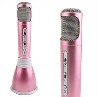 ingrosso microfono a condensatore di qualità-K068 Microfono senza fili Bluetooth con microfono altoparlante Condensatore Mini Karaoke Player KTV Record di canto per Samsung Iphone Migliore qualità