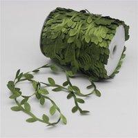ingrosso artificiali foglie verdi artigianali-10 metri di seta a forma di foglia di Handmake artificiali foglie verdi per Corona regalo di nozze della decorazione DIY di Scrapbooking del mestiere Fiore Falso