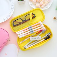 Wholesale pink leather pen for sale - Group buy 1pcs Creative Canvas Pencil Case Large Storage Pen Bag Simple Style Zipper Pencil Bag for Boys Girls School Stationery Supplies