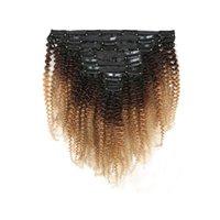 afro kinky remy saç toptan satış-Ombre Klip Remy İnsan Saç Uzantıları Kadın Saç Klip Ins T1b 4 27 Afro Kinky Kıvırcık 8 adet / takım 120g