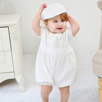 vintage taufkleider für mädchen großhandel-Neugeborenes Baby 0-24 M Mädchen Kleid Set Feste Party Kleid Zurück Taste Taufe Kleid Taufe Vintage Kleid Baby Outfits mit weißem Hut