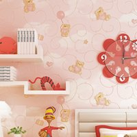 Wholesale bedroom wallpaper environmental for sale - Group buy 3D Cartoon bear delicate embossed wallpaper boy girl bedroom cute TV back non woven environmental protection wallpaper kids room decorate