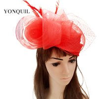 Wholesale feather veil hair for sale - Group buy crinoline fascinator headwear bridal veils feather event show hair accessories millinery cocktail hats High quality color MYQ111