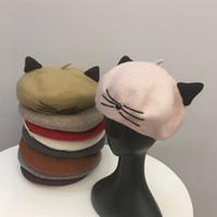ingrosso cappelli di gatto per le donne-Donne berreti autunno e l'inverno simpatico gatto materiale di lana protezione del pittore allievo cappelli di moda zucca cappello gemma cappello carino ragazza di alta qualità