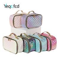moda renkli çanta toptan satış-Kadınlarda Yeqofcd Moda Tuvalet Setleri PU Seyahat Makyaj Çantaları Çanta Kare Renkli Lady Kozmetik Çanta Case Organizatör Kılıfı