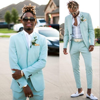groomsmen takım elbiseleri toptan satış-Nane Yeşil Düğün Smokin 2019 Yaz Slim Fit Çentikli Yaka Groomsmen erkek Balo Parti Mezuniyet Suit İki Adet Suits (ceket + Pantolon)