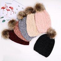 Wholesale women crochet beanie pom for sale - Group buy Winter Women Knitted Beanies Pom Pom fur ball Hat Warm Wool unisex Crochet Skull Beanie Female Outdoor Caps LJJA3473